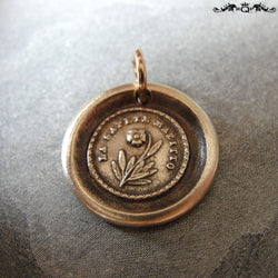 Flower Wax Seal Charm - Lips Are Sealed - antique wax seal jewelry forget me not pendant in bronze