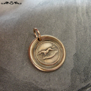 Horse Wax Seal Charm - antique wax seal jewelry in bronze Equestrian galloping pony - RQP Studio
