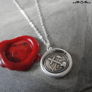 Wax Seal Necklace Faith Hope Love - antique wax seal charm jewelry with cross anchor and heart - RQP Studio
