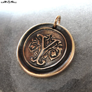 Wax Seal Charm Initial Y - wax seal jewelry pendant alphabet charms Letter Y - RQP Studio