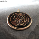 Wax Seal Charm Initial Y - wax seal jewelry pendant alphabet charms Letter Y