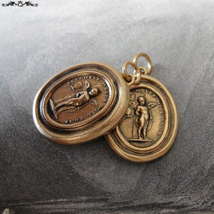 Brighter Hours Will Come Wax Seal Pendant - Cupid And Psyche antique wax seal charm jewelry - RQP Studio