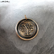Load image into Gallery viewer, Wax Seal Charm Initial Y - wax seal jewelry pendant alphabet charms Letter Y - RQP Studio
