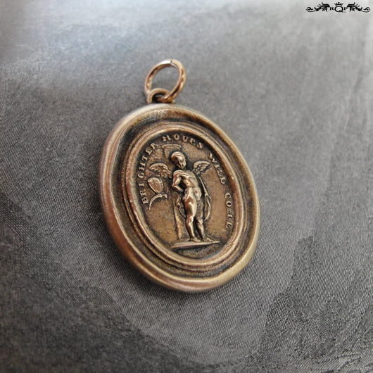 Brighter Hours Will Come Wax Seal Pendant - Cupid And Psyche antique wax seal charm jewelry