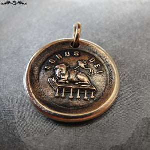 Agnus Dei Wax Seal Charm - Lamb of God antique wax seal jewelry - RQP Studio