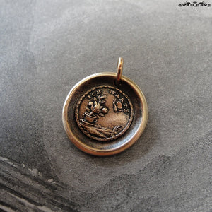 Wax Seal Charm - Flower and Butterfly - antique wax seal jewelry German motto I Wait - RQP Studio