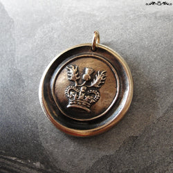 Thistle Wax Seal Charm - antique Scotland wax seal charm jewelry Scottish thistle crown