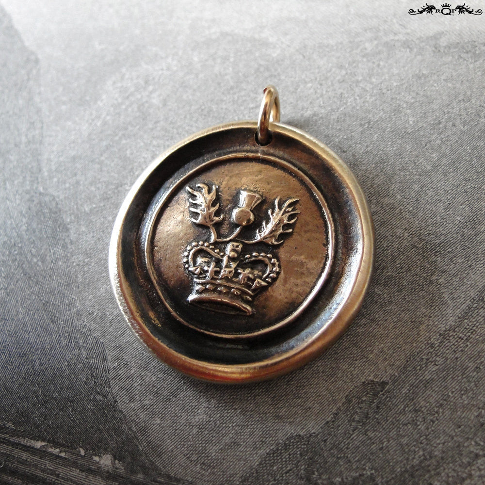 Thistle Wax Seal Charm - antique Scotland wax seal charm jewelry Scottish thistle crown - RQP Studio