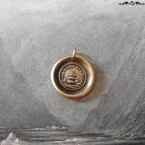 Wax Seal Charm I Sing For You - antique wax seal jewelry pendant with song bird in tree - RQP Studio