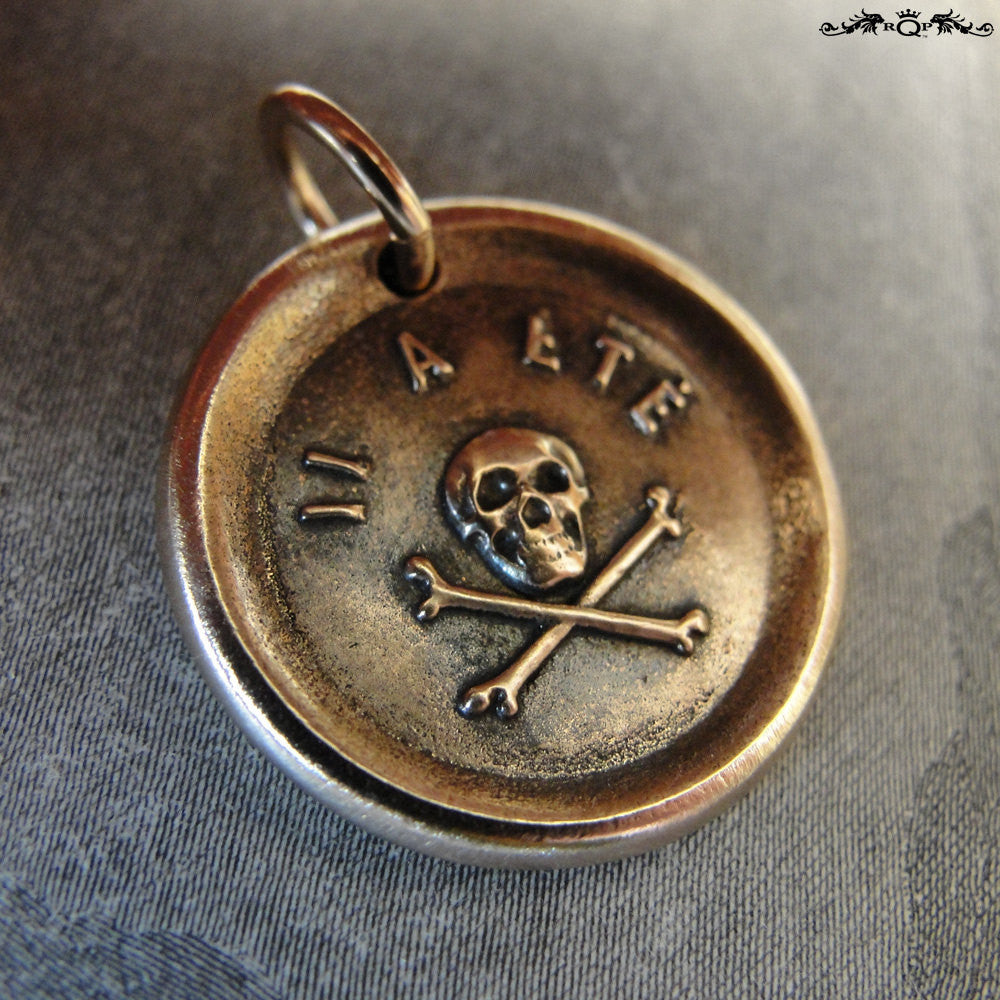 Skull Wax Seal Charm - antique wax seal jewelry pendant Memento Mori skull French motto It Hath Been - RQP Studio