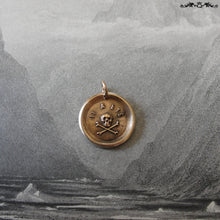 Load image into Gallery viewer, Skull Wax Seal Charm - antique wax seal jewelry pendant Memento Mori skull French motto It Hath Been - RQP Studio