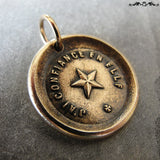 Wax Seal Charm North Star antique wax seal charm jewelry - French motto guiding star Trust It