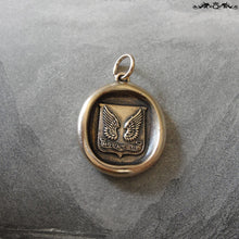 Load image into Gallery viewer, Wings Wax Seal Pendant - Protection - antique wax seal charm jewelry Mount Up motto - RQP Studio
