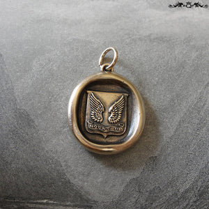 Wings Wax Seal Pendant - Protection - antique wax seal charm jewelry Mount Up motto - RQP Studio