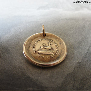 Broken Heart Wax Seal Charm - antique wax seal jewelry pendant deer pierced with arrow and French motto - RQP Studio