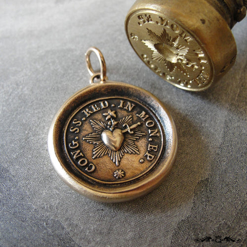 Divine Heart Antique Wax Seal Pendant - Sacred Heart wax seal charm jewelry with religious crest Love One Another by RQP Studio - RQP Studio