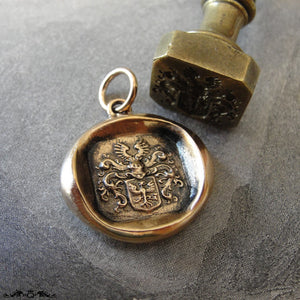 Wax Seal Charm Eagle - antique Victorian wax seal jewelry pendant Protection Bravery armorial crest - RQP Studio