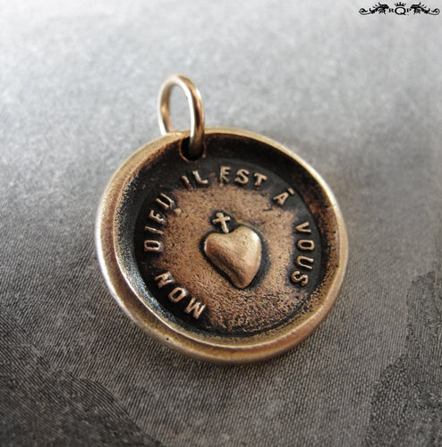 My Heart Is Yours Wax Seal Charm with cross and heart - antique wax seal jewelry - RQP Studio
