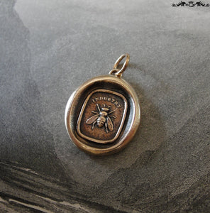 Bee wax seal charm - antique wax seal jewelry pendant with honey bee - RQP Studio