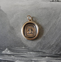 Load image into Gallery viewer, Bee wax seal charm - antique wax seal jewelry pendant with honey bee - RQP Studio