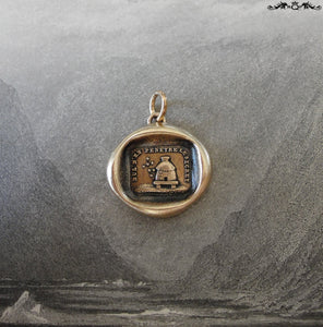 Beehive Wax Seal Charm - Protect Secrets antique wax seal jewelry pendant with bees and hive in bronze - RQP Studio