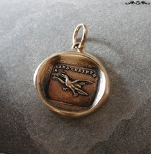 Load image into Gallery viewer, Fearless Wax Seal Charm with eagle - Soar Without Fear - antique wax seal charm jewelry French No Fear motto - RQP Studio