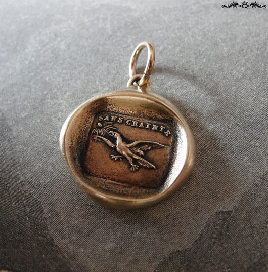 Fearless Wax Seal Charm with eagle - Soar Without Fear - antique wax seal charm jewelry French No Fear motto