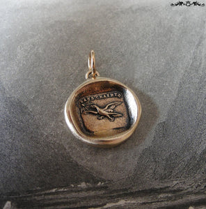 Fearless Wax Seal Charm with eagle - Soar Without Fear - antique wax seal charm jewelry French No Fear motto - RQP Studio