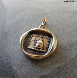 Beehive Wax Seal Charm - Protect Secrets antique wax seal jewelry pendant with bees and hive in bronze