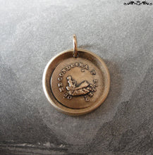Load image into Gallery viewer, Wax Seal Charm Guiding Star - antique wax seal jewelry pendant French motto North Star - RQP Studio