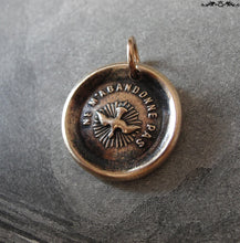 Load image into Gallery viewer, Holy Spirit Wax Seal Charm - antique wax seal jewelry pendant Christian Faith motto Forsake Me Not - RQP Studio