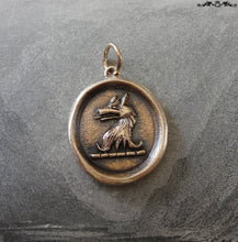 Load image into Gallery viewer, Wolf Wax Seal Pendant - Courage symbol with wolf head crest - RQP Studio