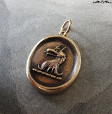 Wolf Wax Seal Pendant - antique wax seal charm jewelry Courage symbol with wolf head crest by RQP Studio