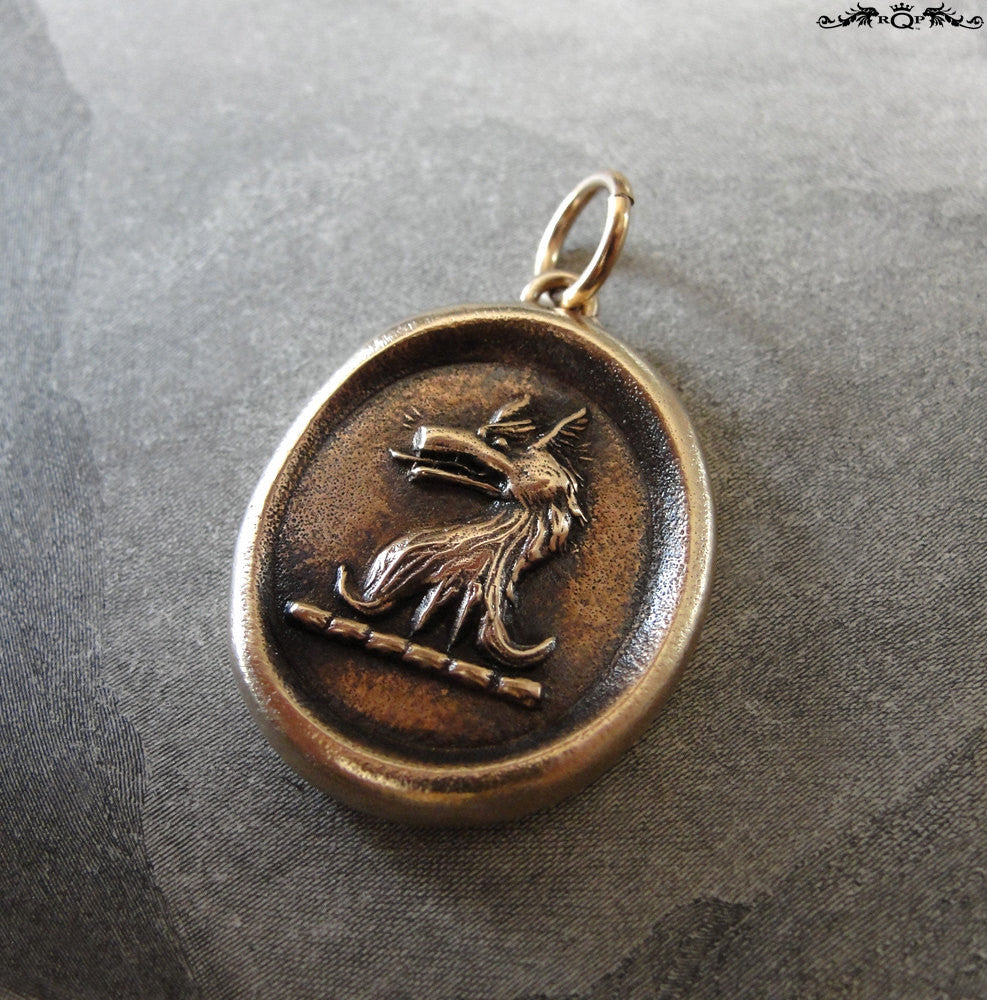 Wolf Wax Seal Pendant - Courage symbol with wolf head crest - RQP Studio