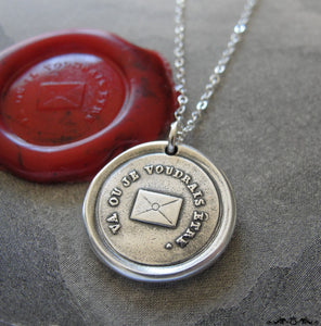 Go Where I Wish To Be - Wax Seal Necklace with message letter - antique wax seal charm jewelry - RQP Studio