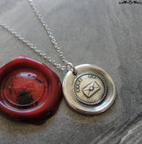 Say Yes Wax Seal Necklace - antique wax seal charm jewelry German motto and letter