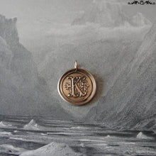 Load image into Gallery viewer, Wax Seal Charm Initial K - wax seal jewelry pendant alphabet charms Letter K - RQP Studio