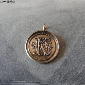 Wax Seal Charm Initial K - wax seal jewelry pendant alphabet charms Letter K - RQP Studio