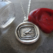 Load image into Gallery viewer, Love Message Wax Seal Necklace - Dove antique wax seal jewelry charm motto Tell Her I Love Her - RQP Studio