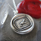 Love Message Wax Seal Necklace - Dove antique wax seal jewelry charm motto Tell Her I Love Her