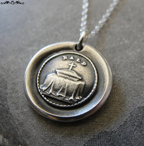 Coffin Wax Seal Necklace - Mourning Death antique wax seal charm jewelry coping with grief and loss - RQP Studio