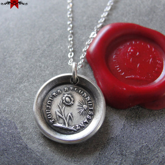 Wax Seal Necklace Gratitude - antique wax seal charm jewelry French Thank You flower motto