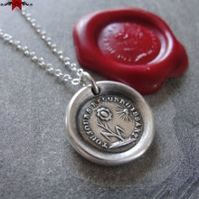 Load image into Gallery viewer, Wax Seal Necklace Gratitude - antique wax seal charm jewelry French Thank You flower motto - RQP Studio