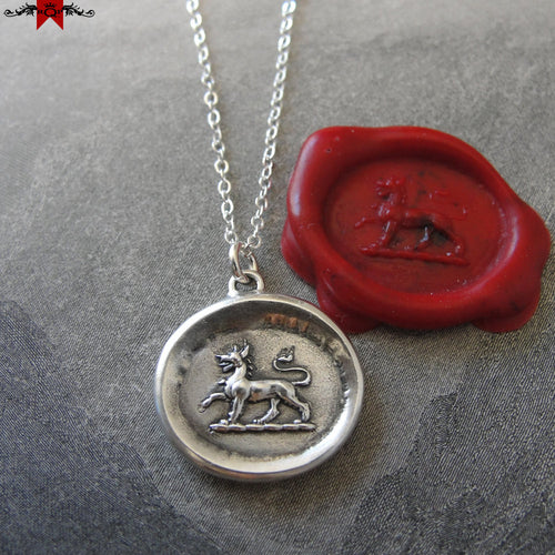 Tyger Wax Seal Necklace - Fierceness Valor antique wax seal charm jewelry Heraldic Fierce Tiger necklace - RQP Studio