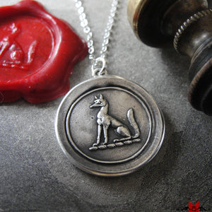 Fox Wax Seal Necklace - antique wax seal jewelry with fox crest - RQP Studio
