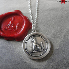 Load image into Gallery viewer, Fox Wax Seal Necklace - antique wax seal jewelry with fox crest - RQP Studio