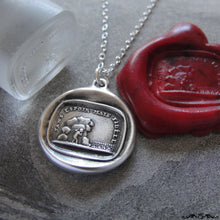 Load image into Gallery viewer, Wax Seal Necklace - Hopeless But Faithful - antique wax seal charm jewelry Cupid love necklace - RQP Studio