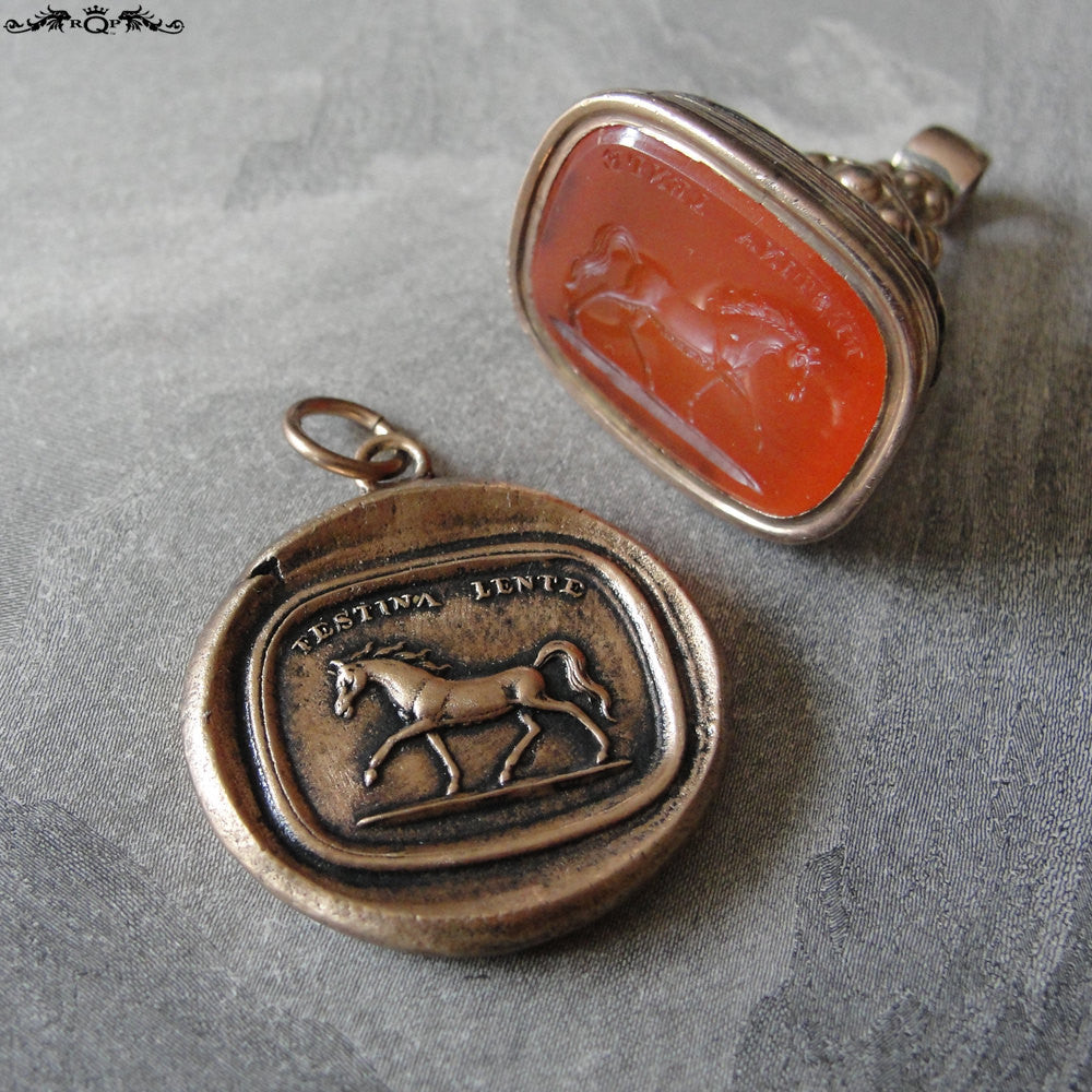 Horse Wax Seal Charm - antique wax seal jewelry pendant Latin motto Festina Lente - equestrian horse - RQP Studio