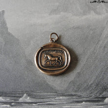 Load image into Gallery viewer, Horse Wax Seal Charm - antique wax seal jewelry pendant Latin motto Festina Lente - equestrian horse - RQP Studio