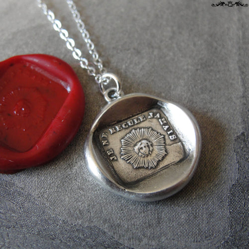 I Never Retreat Sun wax seal necklace - antique wax seal charm jewelry French motto I won't back down - RQP Studio
